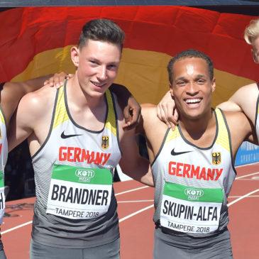 Luis Brandner jubelt mit Staffel über Bronze und Rekord