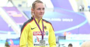 Celina Leffler bei der Siegerehrung der U23-EM 2017: Die Koblenzerin blickt auf eine erfolgreiche Siebenkampf-Karriere zurück