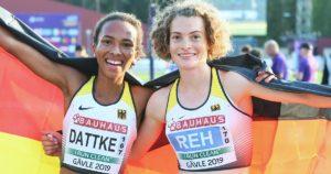 Strahlten über Gold und Silber über 10.000 Meter: Alina Reh (re.) und Miriam Dattke bei der U23-EM in Gävle
